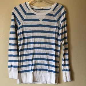 J Crew white and blue striped sweatshirt